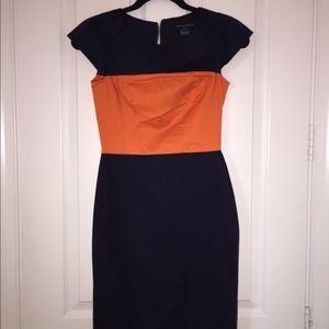 French Connection Navy & Orange Shift Midi Dress